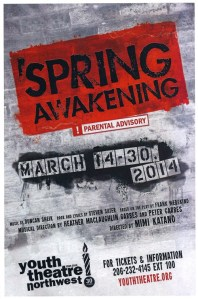 Poster for Youth Theatre Northwest 2014 production of Spring Awakening