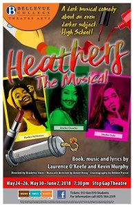 Production poster for Heathers at Bellevue College, 2018