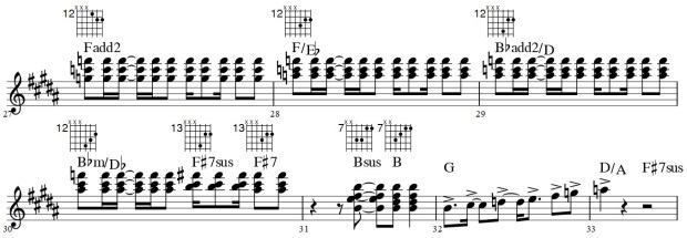 Recommended voicings for m.27-33 of #3a-What You Want Part 2