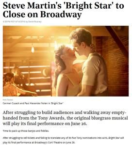 Hollywood Reporter article on Bright Star closure